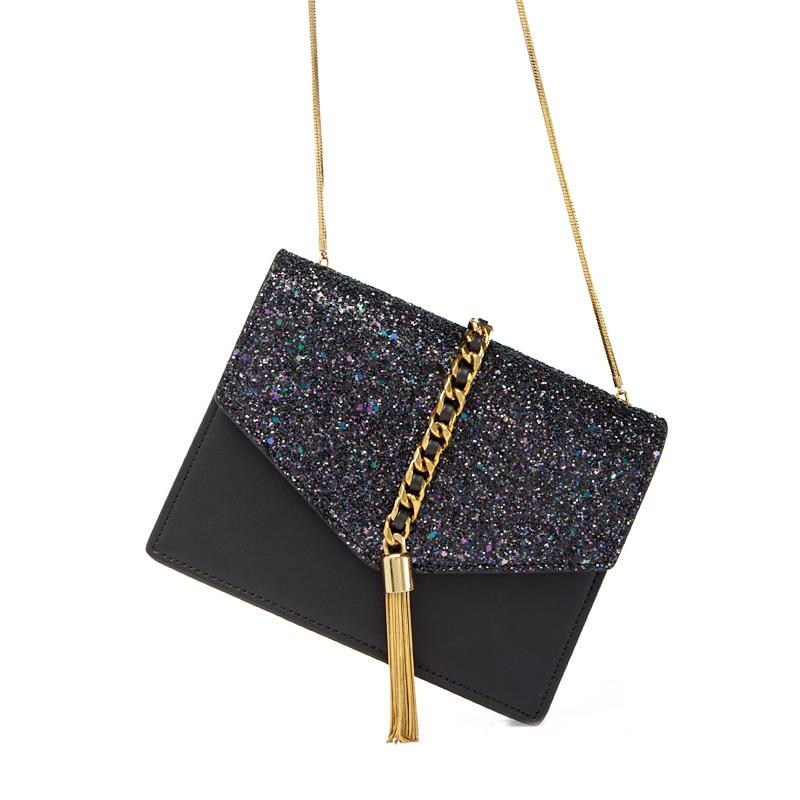 2019 New Leather Bead Snake Bone Chain Bag Fairy Tassel Envelope Bag Messenger Small Square Bag Single Shoulder Girl