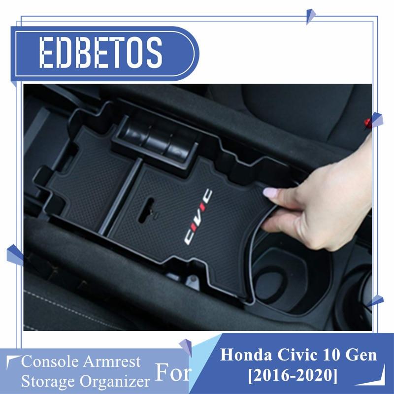 Center Console Armrest Storage Box Organizer Tray For Honda Civic 10th Gen 16-18