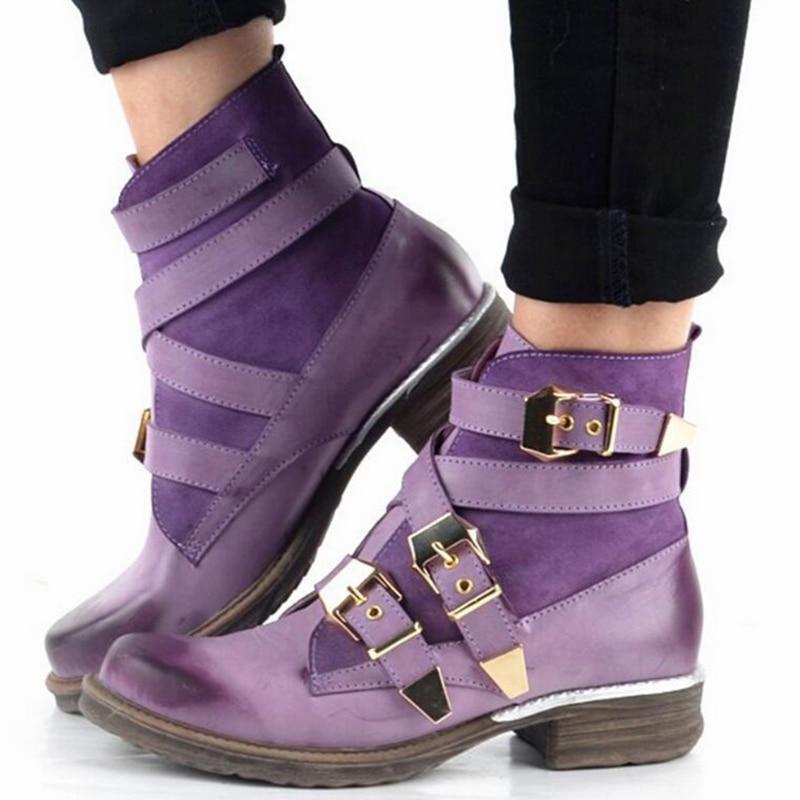 Winter Women Ankle Boots 2020 Woman Vintage Low Heels Women