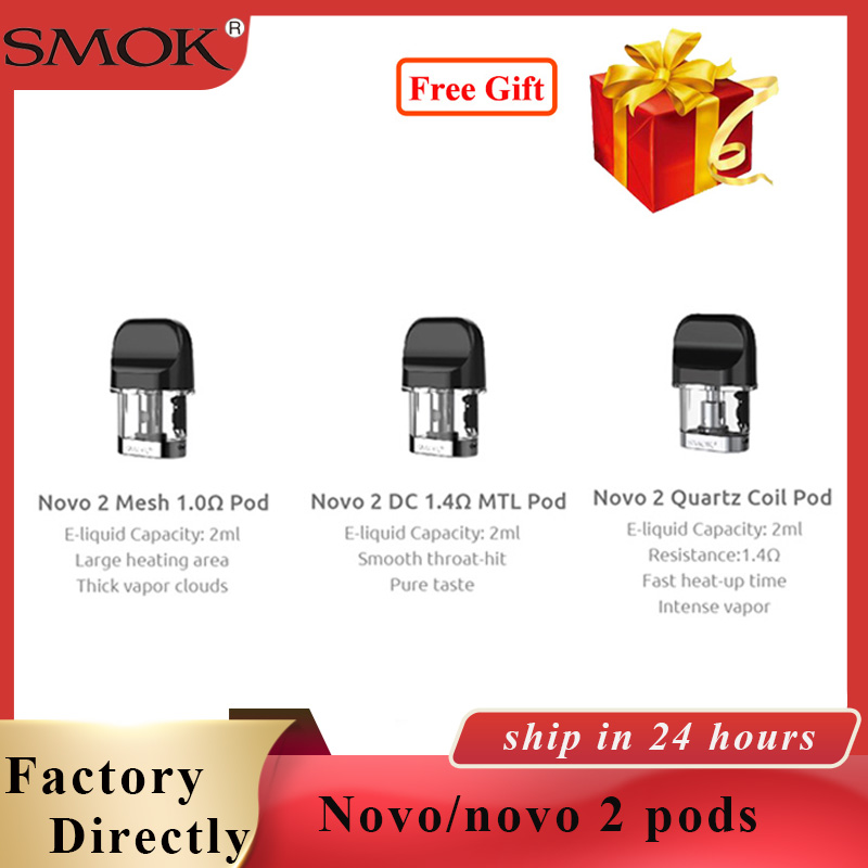 3pcs/pack SMOK Novo Pod vape 2ml Electronic Cigarette Atomizer pod Vape for Novo Kit/ smok novo 2 pod kit vape cartridge