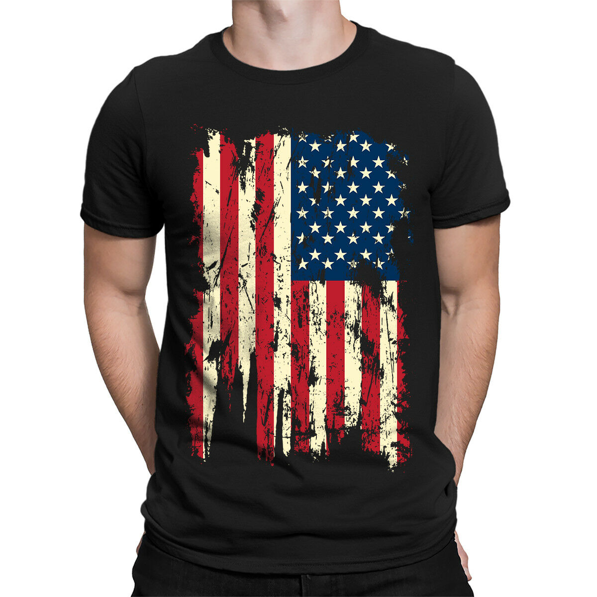 Colored USA Distressed Flag Patriotism 4th Of July Firework Adult Men's T-Shirt