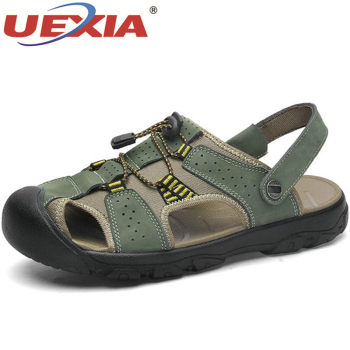 UEXIA Summer Sandals Men Leather Classic Roma Sandals 2019 Outdoor Sneakers Beach Flip Flops Man Water Trekking Shoes Size 50