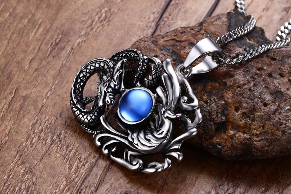 Chinese Feature Mens Necklaces Stainless Steel Dragon and Phoenix Pendant Necklace Men Vintage Punk Bike Jewelry Accessories blue collares collier colar choker 18
