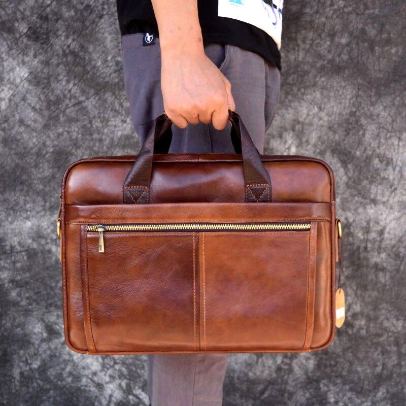 AETOO skórzana torba z prawdziwej skóry torebki biznesowe skóra bydlęca męska torba crossbody męska podróż brązowa skórzana teczka -