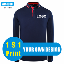 Long Sleeved Polo Shirt Custom Personal Group Logo Embroideried Polo Shirt Men And Women Tops Customization WESTCOOL