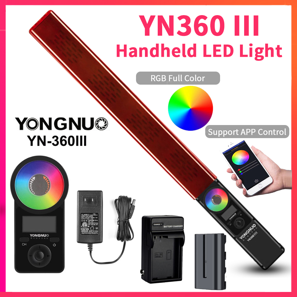 YONGNUO Stick Video-Light YN360III Handheld 5500k LED 3200k Bi-Colo Touch RGB with Remote title=