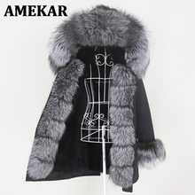 Jacket Women Coat Long-Parka Real-Fox-Fur Natural Winter Raccoon-Fur-Collar New Warm