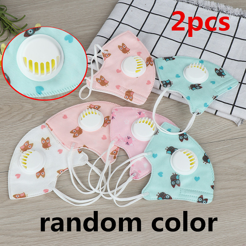 2pcs Children Cartoon PM2.5 Mouth Mask Kids Activated Carbon Breathable Mask Anti Dust Mouth-muffle Respirator Cotton Face Masks