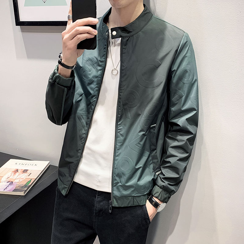 2020 new spring jacket men/'s trend Korean casual wild stand collar clothes green Best windbreaker Free shipping Low price