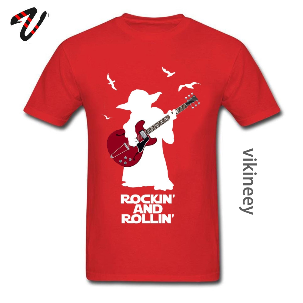 Faddish Men Tops & Tees RockinandRollinGuitarYoda Casual Tshirts 100% Cotton Short Sleeve Personalized Tee-Shirt Crew Neck Rockin-and-Rollin-Guitar-Yoda- red