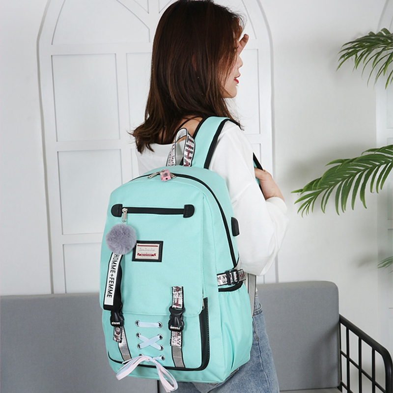 Litthing Large School Bags For Teenager Usb With Lock Anti Theft Backpack Women Book Bag Bag Youth Leisure College Dropshipping