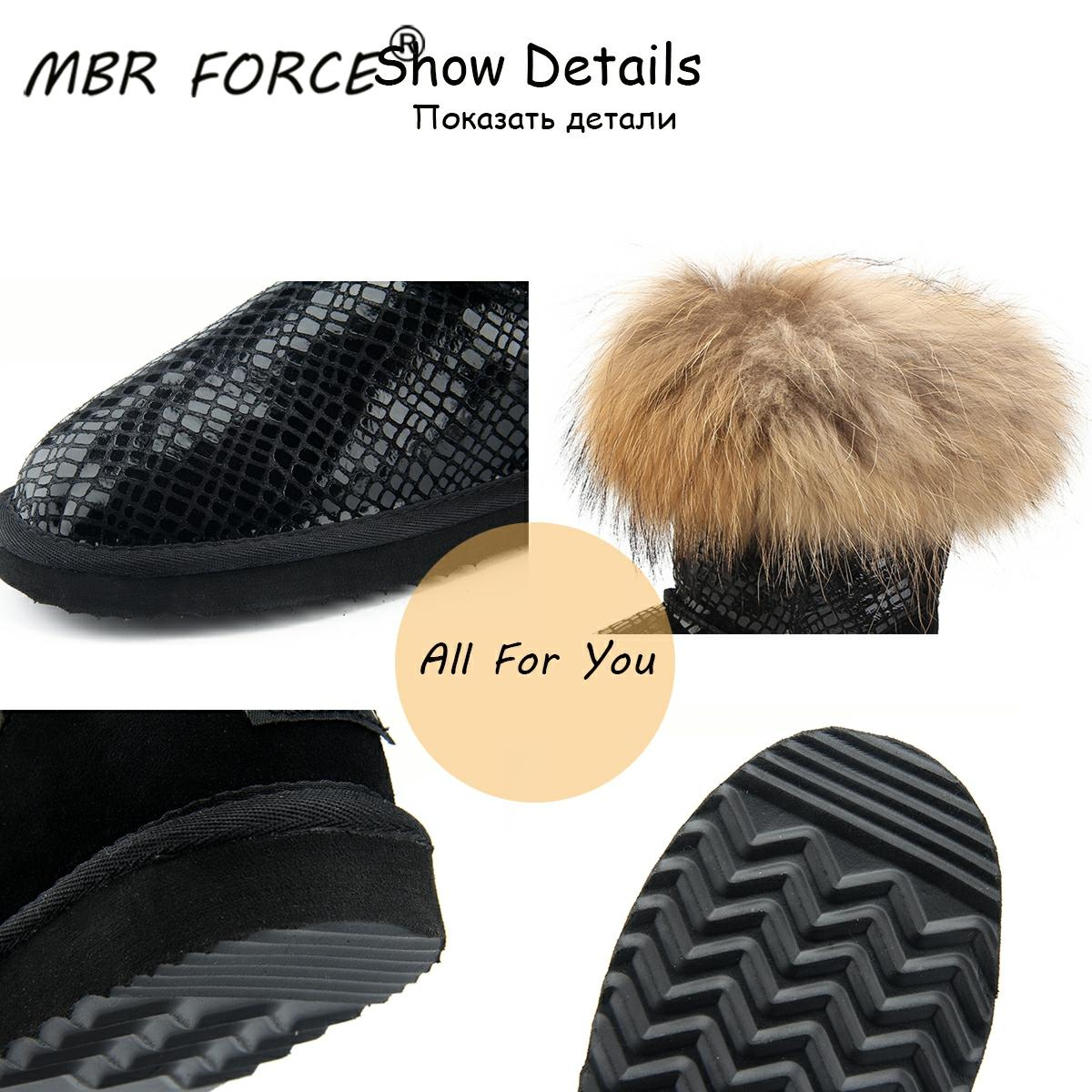 MBR FORCE Women natural real fox fur snow boots fashion boots for women high quality genuine cow leather winter Ankle boots
