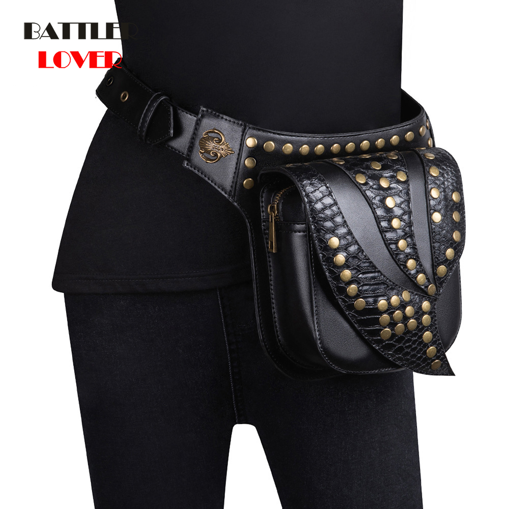 Steampunk Waist Leg Bags High Quality Leather Women Men Victorian Style Holster Bag Thigh Hip Belt Packs Messenger Shoulder Bags