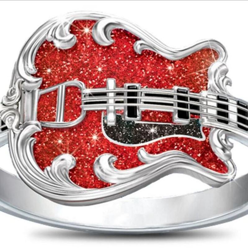 5pcs  New fashion pop music rings Dripping oil Guitar rings birthday party gifts ring size 6-10 G-55