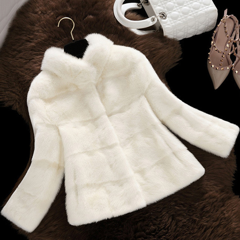 Office Lady Mink Fur Coat Stand Collar Faux Fur Jackets Women Elegant Long Sleeve Fur Coats Outerwear 2019 Winter Faux For Coat