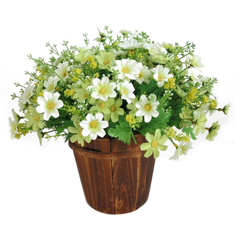 28 Heads Daisy Flower Fake Plants Grass Artificial Leaf Garden Decor Outdoor