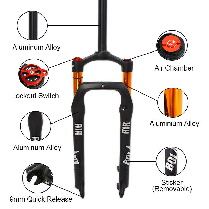 "26*4.0/"" Fat Bike Suspension Fork 1-1//8/"" *135mm Beach Snow Bicycle Aluminum Forks"
