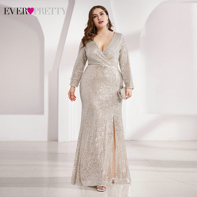 Plus Size Luxury Evening Dresses Ever Pretty Sequined Side Split Full Sleeve Ruched Sexy Sparkle Party Gowns Vestidos De Gala