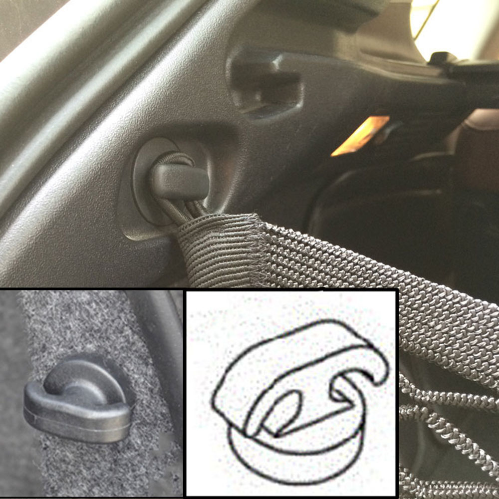 2x Auto Car Rear Trunk Envelope Cargo Net Tie Down Hook Ring Loop Hanging Useful