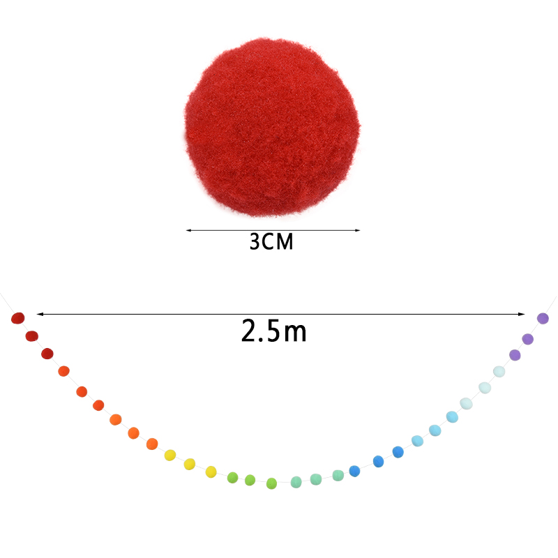 30Pcs Wool Felt Balls Handmade Garland Pom Pom Hanging Gift String Home M2S2
