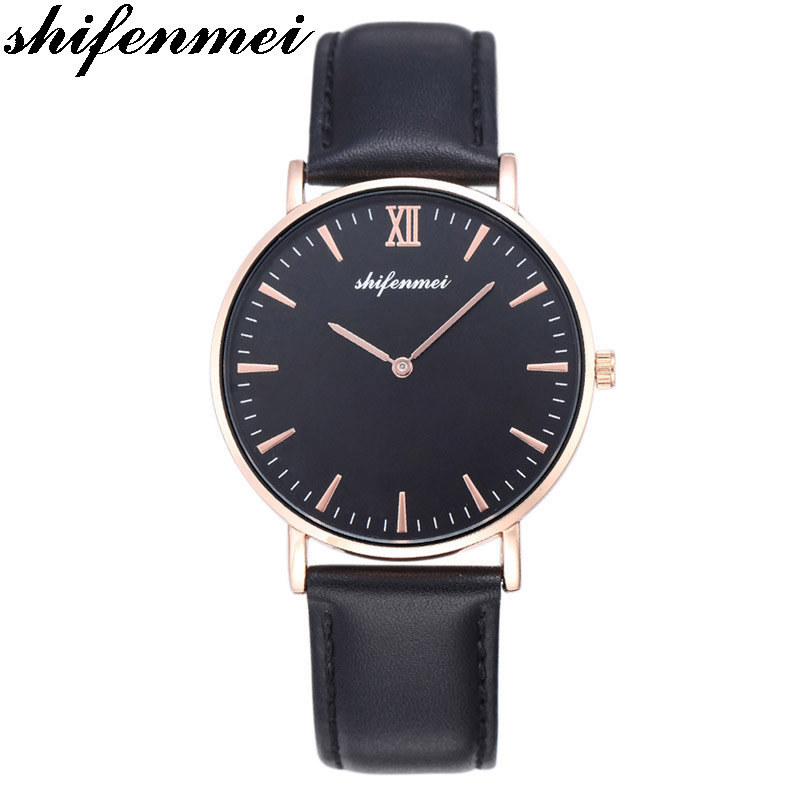 shifenmei S1075L men for mens watches Luxury Minimalist Bracelet Waterproof Hand leather Strap Wrist Lady Ultra thin Gold Watch