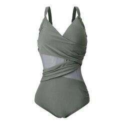 2020 New Sexy One Piece Swimsuit Women Mesh Patchwork Bathing Suits Vintage Swimwear Summer Beach Wear Swim Suit Plus Size M-4XL