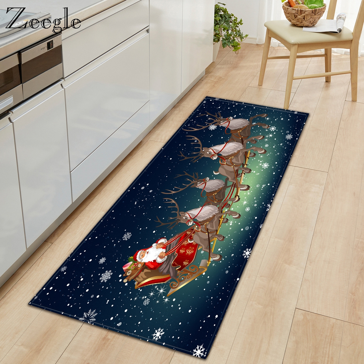 Zeegle Carpet Kitchen Rug Anti-slip Bathroom Doormat Shower Mat Hallway Rug Living Room Carpet Christmas Indoor Carpet Floor Rug