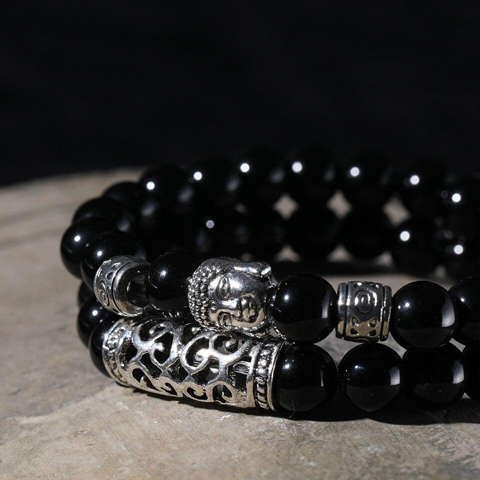 12 Style Black Lava Stone Prayer Beads Buddha Men Bead Bracelet Tiger Stones Beaded Bracelets for Women and Mens Male 2pcsSet  (44)