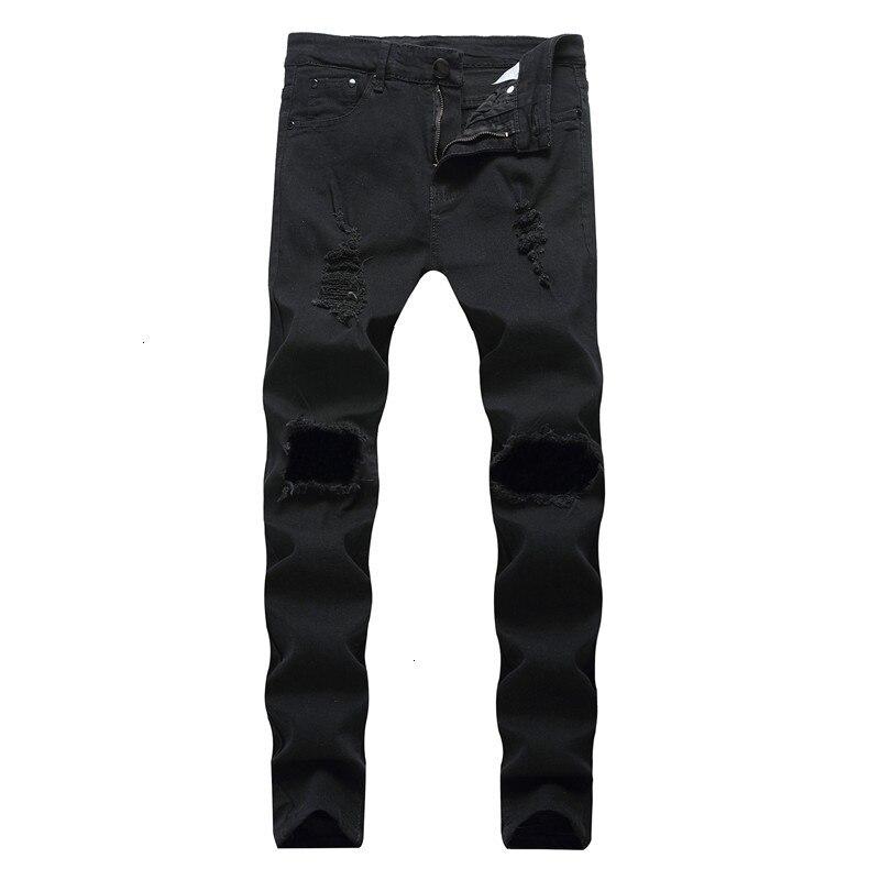 2019 Men Stretch jeans side stripe biker jeans denim ripped knee holes slim supper skinny hip hop jeans men