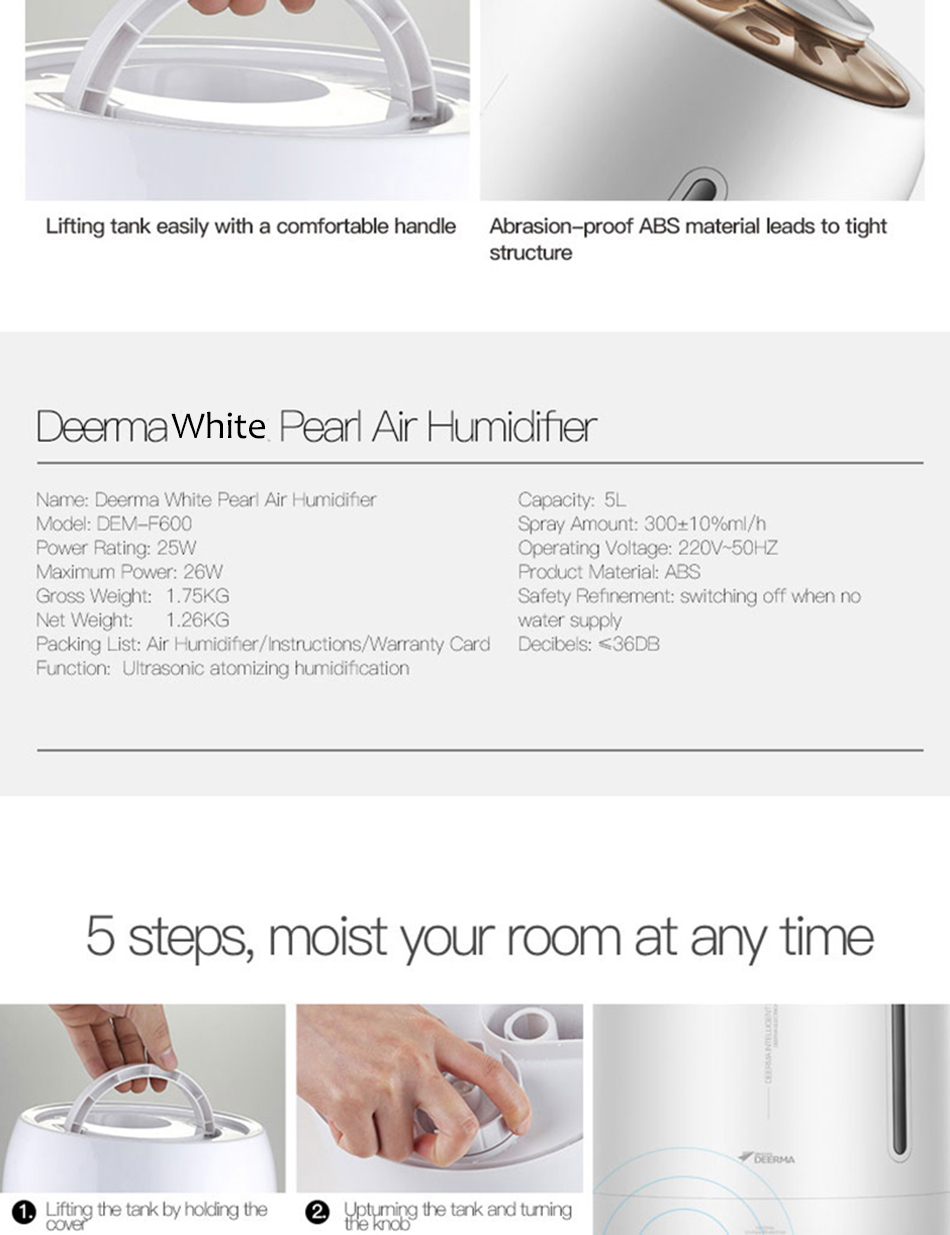 Xiaomi Mijia deerma 5L Air Home Ultrasonic Humidifier Touch Version Air Purifying for Air-conditioned rooms Office household D5 (14)