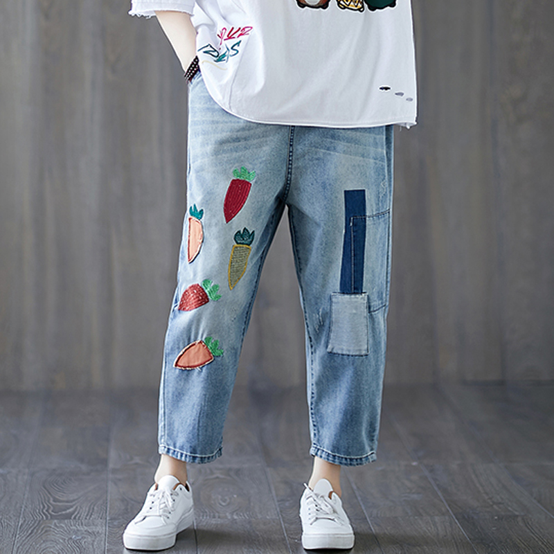 Women Jeans Denim Pants Bottom Trousers Big Loose Carot Embroidery Elastic Waist Fashion Casual for Spring Summer BO23651514