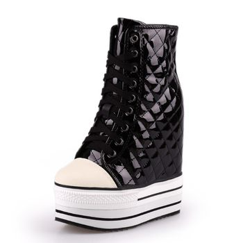 2019 New Plaid Shoes Woman 12CM Heels Lace Up High-Top Platform Wedge Shoes High Quality Fashion Stage Shoes Luxury Trainers