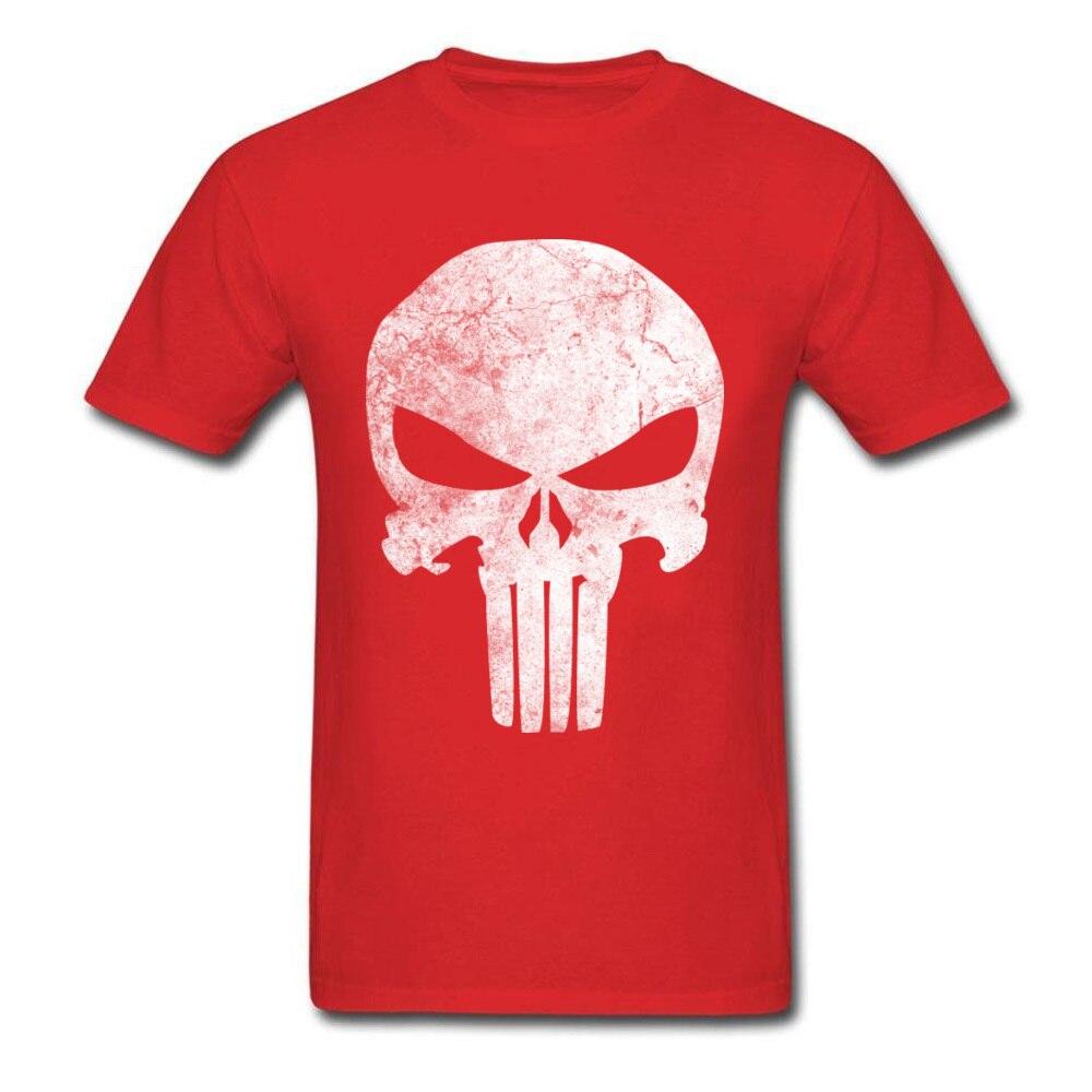 Slim Fit Men T-Shirt Punisher_Skull_Grunge_97 Print T Shirt Cotton Short Sleeve Printed On Tee-Shirt Crewneck Free Shipping Punisher_Skull_Grunge_97 red