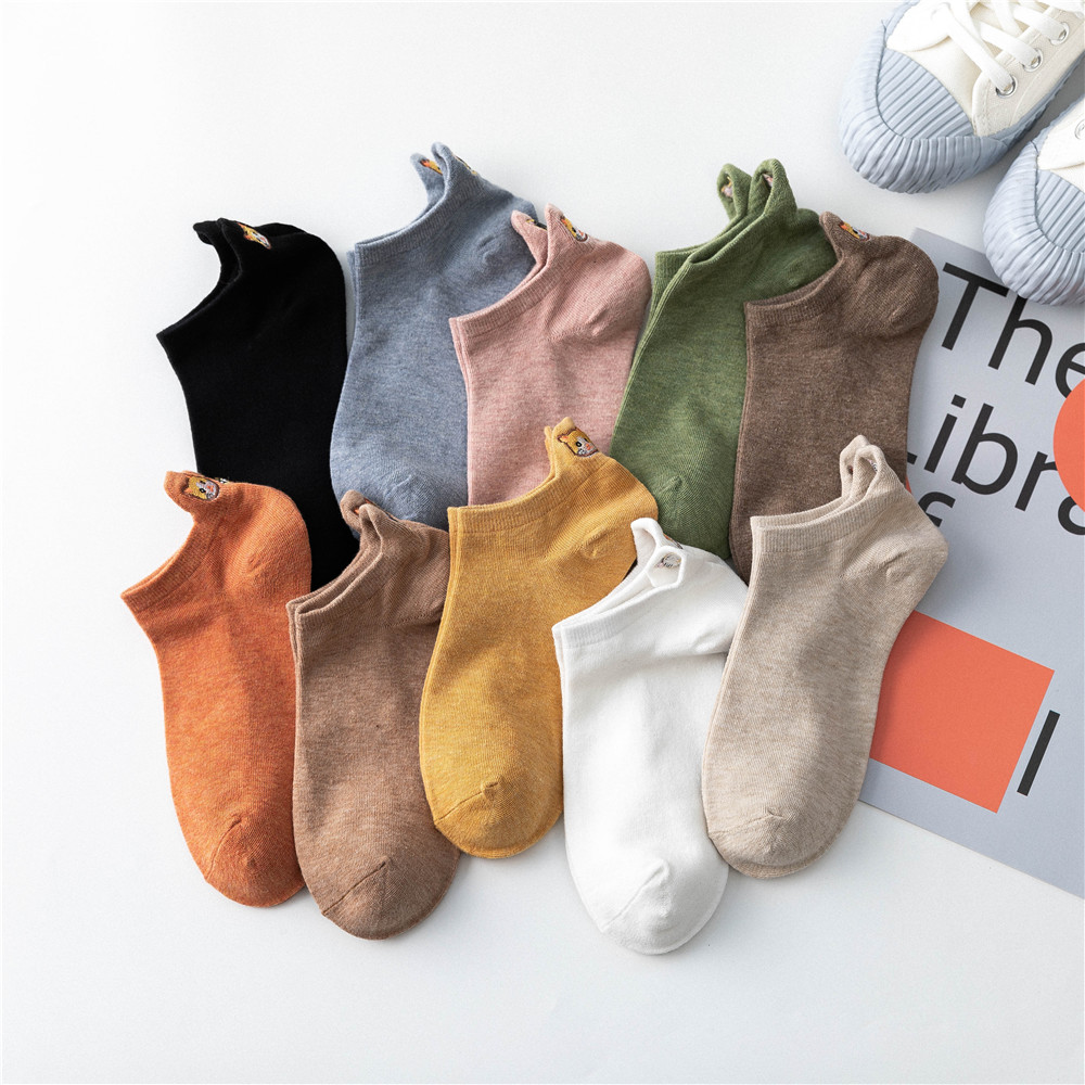 Spring And Summer Cotton Women Fashion Socks Boat Colorful Female Shallow Mouth Short Heel Socks Cat Embroidery For Girls