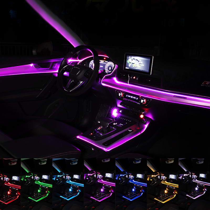 Car Atmosphere Lights EL Neon Wire Strip Light RGB Multiple Modes App Sound Control Auto Interior Decorative Ambient Neon Lamp title=