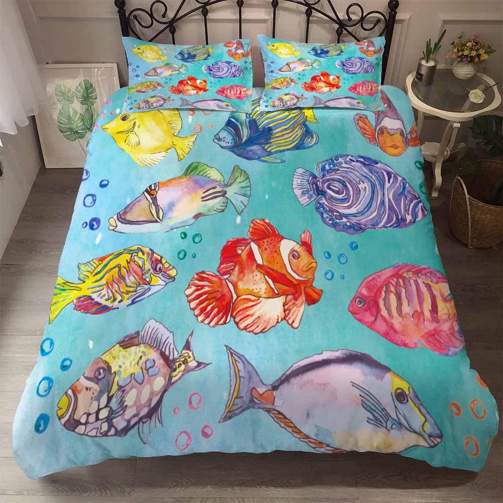 3D Animal Bedding Set Shark Duvet Cover Sets Shoals of Fish Pillow Cases 3PCS