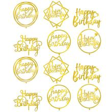 Cake-Insert-Card Baking-Decoration Happy-Birthday Acrylic Golden Mirror 12pcs Double-Sided