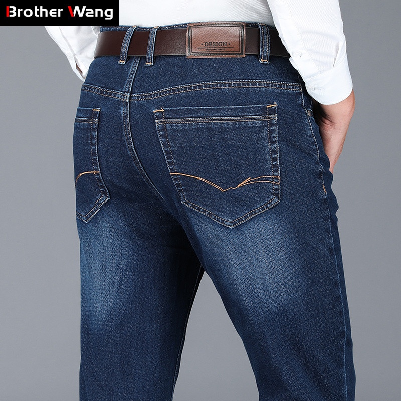 2019 Autumn and Winter New Men/'s Classic Business Jeans Loose Straight Stretch Blue Denim Trousers Male Casual Brand Pants