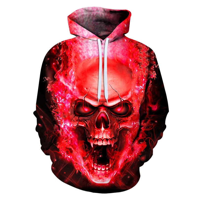 Factory Direct Sales Autumn Skull 3d Digital Printing  Hooded Sweatshirts Casual Stretch Loose Pullover  Wholesale And Retail