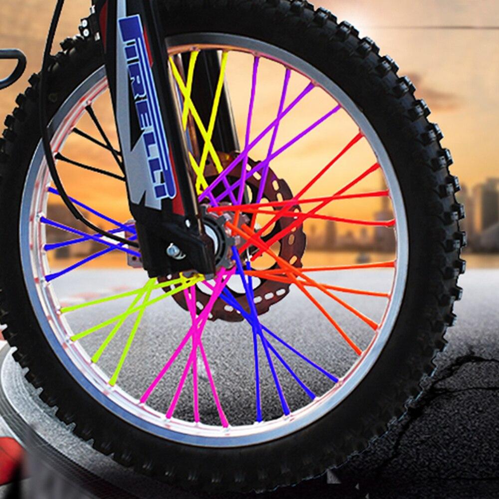 Yosoo Universal Motocross Wheel Spoke Skin 72 Pcs Bicycle Motorcycle Spoke Wrap Dress Up Cover 24cm Road Bike Skins Wraps Kit Orange