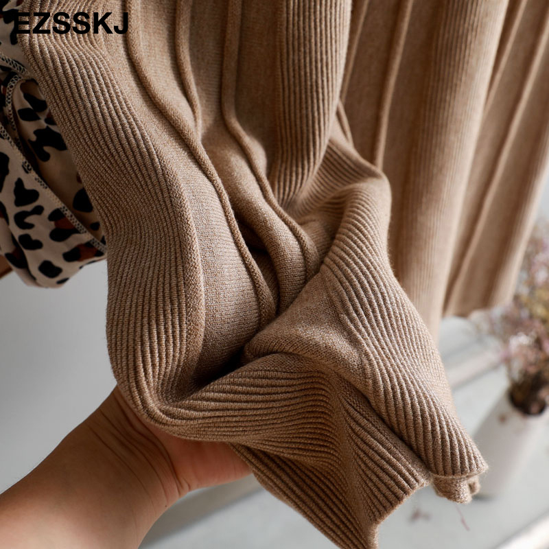 Vintage Winter Women thick sweater skirt Elastic High Waist Pleated Midi knitted Skirt A-line female solid elegant Skirts 27