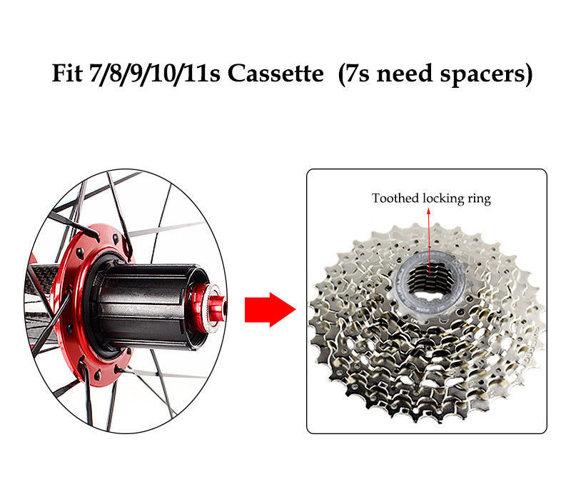 Road Bike 700C Bearing Wheels 7-11 Speed V Brake Clincher Front Rear Wheelsets (4)