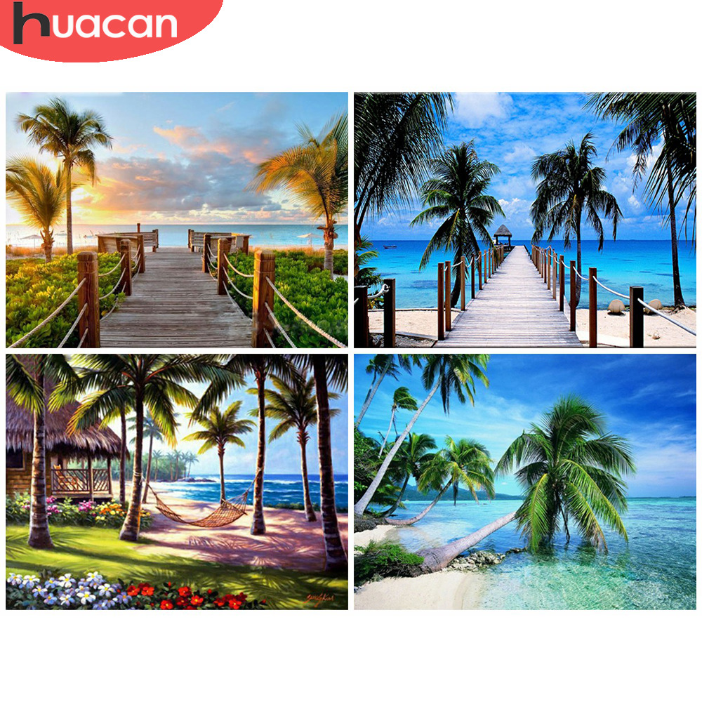 HUACAN Diamond Painting Full Drill Square/Round Landscape Sale Diamond Art Embroidery Seaside Sunset Home Decoration