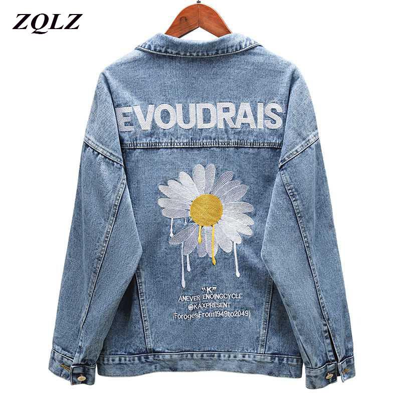 ZQLZ Autumn Denim Jacket Women 2020 New Embroidery Slingle Breasted Loose Spring Coat Female Black Casual Overcoat Mujer