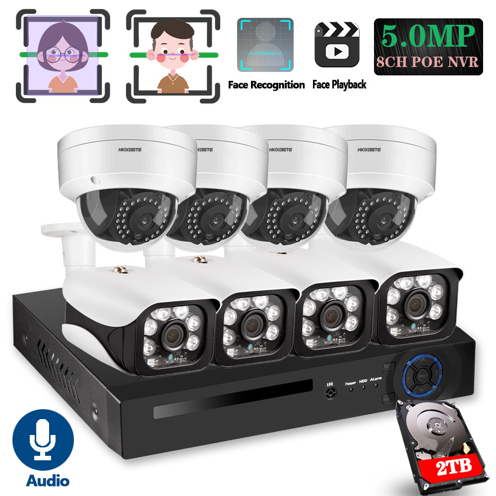 8CH 5MP Wireless NVR POE Security 8 pcs Bullet&Dome IP Camera System IR-CUT P2P CCTV Video Surveillance Recorder Kit Face Record