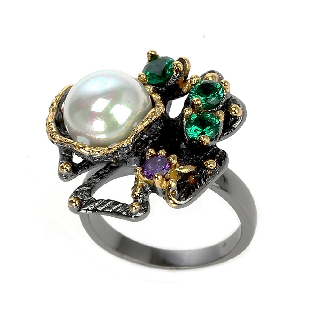 WA11637 pearl flower ring women vintage gothic stone jewelry (6)