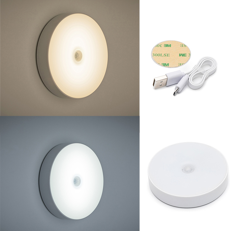 6 LEDs PIR Motion Sensor Night Light Auto On/Off for Bedroom Stairs Cabinet Wardrobe Wireless USB Rechargeable Wall Light