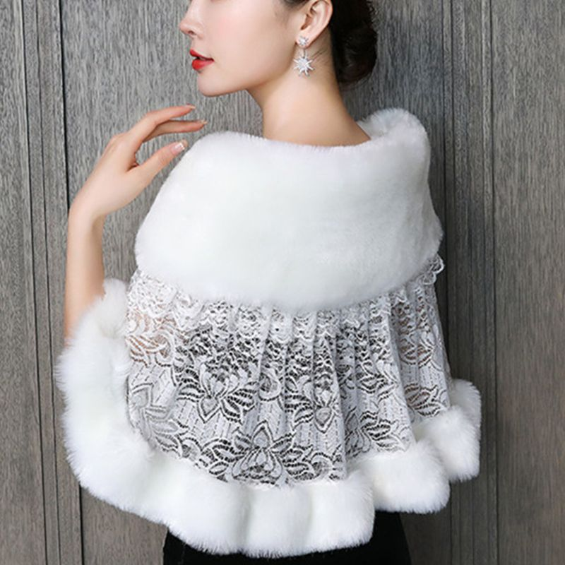 Women Winter Wedding Dress Scarf Stoles Warm Shawl Wrap Fluffy Plush Splicing Bridal Bolero Crochet Floral Lace Prom Party Cover