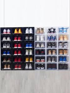 Shoe-Box Drawer-Case Organize Clamshell Stackable Transparent Plastic High-Heel DIY