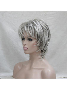 HAIRJOY Wigs Short Synthetic-Hair Curly-Layered Grey Women Highlighted Balayage